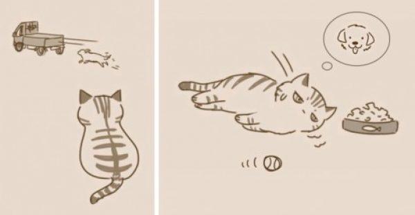 Υπέροχα σκίτσα με απρόσμενη κατάληξη δείχνουν την άλλη πλευρά των γατών.
