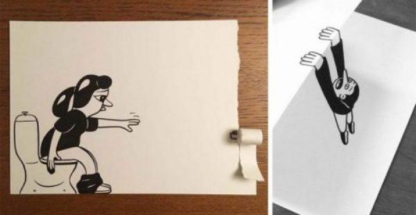 Καλλιτέχνης χρησιμοποιεί τρισδιάστατη τεχνική για να φέρει στη ζωή τα σχέδιά του.