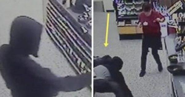 Μπήκε οπλισμένος στο σούπερ μάρκετ και ζήτησε τις εισπράξεις από την ταμία. Δεν είχε ιδέα όμως ΠΟΙΟΣ βρισκόταν πίσω του!