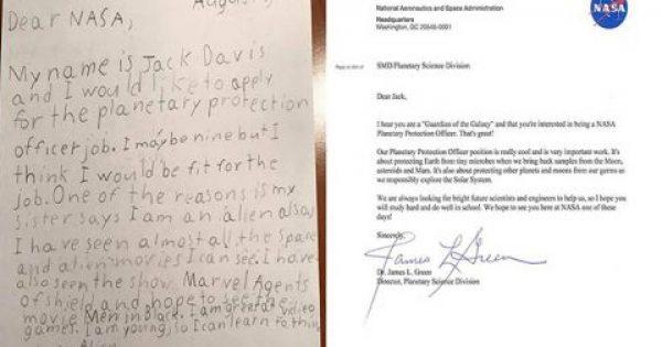 Η NASA απάντησε σε 9χρονο αγόρι που της ζήτησε δουλειά