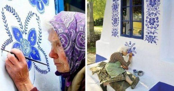 90χρονη Τσέχα γιαγιά μετατρέπει χωριό σε έργο τέχνης ζωγραφίζοντας παντού λουλούδια