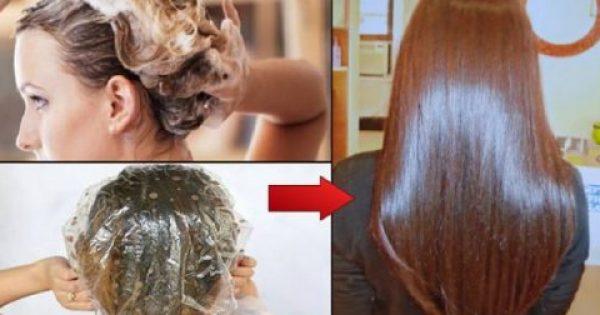 Εφαρμόζει αυτή την μάσκα στα μαλλιά της και την αφήνει για 15 λεπτά.. Το αποτέλεσμα είναι εντυπωσιακό!