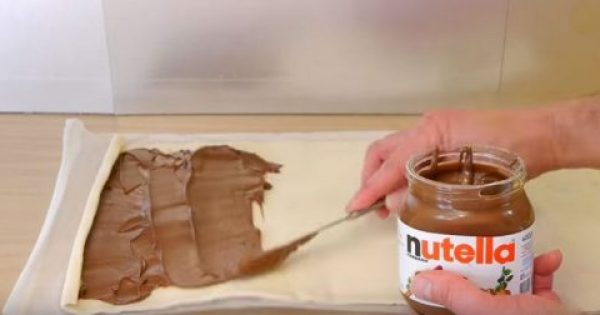 Αλείφει την Nutella πάνω σε ένα φύλλο και φτιάχνει το πιο γρήγορο και νόστιμο επιδόρπιο!