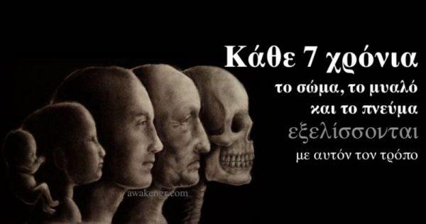 Κάθε 7 χρόνια το σώμα, το μυαλό και το πνεύμα εξελίσσονται με αυτόν τον τρόπο!!!