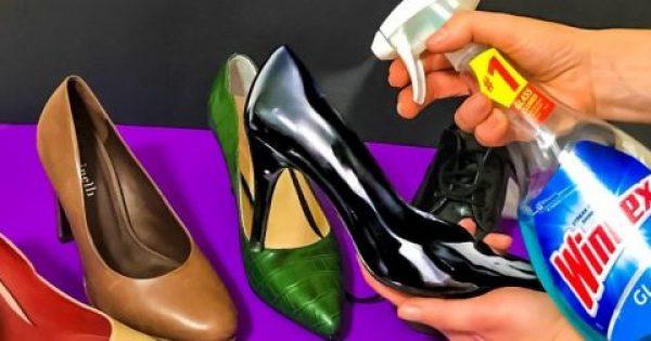 Παίρνει Σπρέι για τα Τζάμια και ψεκάζει τα Δερμάτινα Παπούτσια της. Μόλις δείτε το Λόγο, θα το κάνετε και Εσείς!