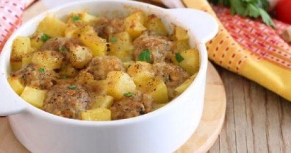 Κεφτεδάκια με πατάτες στο φούρνο