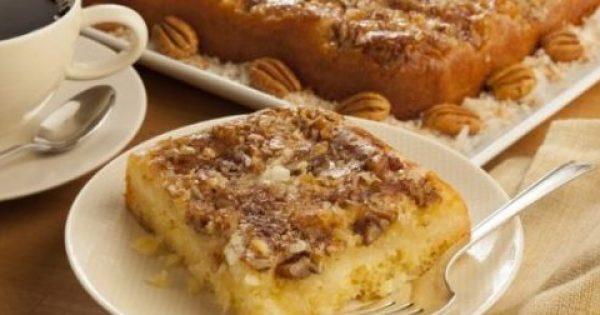 Κέικ αναποδογυριστό με καρύδια και ινδοκάρυδο