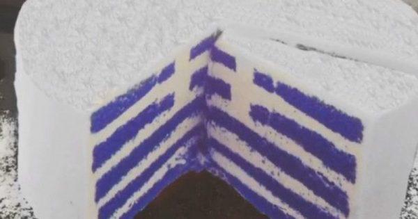 Πρωτότυπη συνταγή για τούρτα ελληνική σημαία