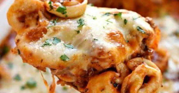 Τορτελίνια με γέμιση τυριών και κιμά στο φούρνο