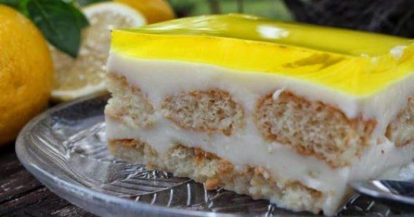 Δροσερό γλυκό ψυγείου με κρέμα και ζελέ με άρωμα λεμονιού (Video)