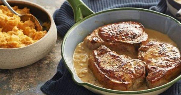 Χοιρινά μπριζολάκια με σάλτσα μουστάρδας και πουρέ καρότου