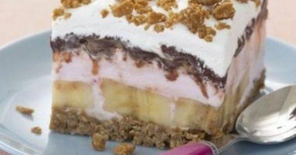 Παγωτό φράουλας με μπανάνες, μπισκότα και σοκολάτα