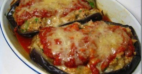 Μελιτζάνες γεμιστές με ρύζι και μυρωδικά στο φούρνο
